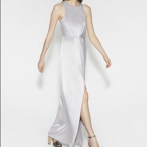 Halston Heritage Satin Maxi Evening Gown Dress